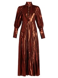 Ellery Contained Silk Blend Lame Dress Copper