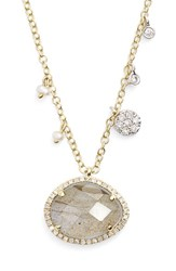 Women's Meira T Stone Pendant Necklace Yellow Gold Labradorite