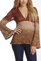 Sky Ombre Crochet Braided Suede Trim Top Brown