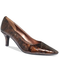 Easy Street Shoes Easy Street Chiffon Pumps Women's Shoes Bronze Croco
