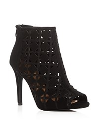 Michael Michael Kors Ivy High Heel Open Toe Booties Black