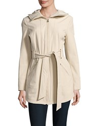 Jessica Simpson Water Resistant Hooded Raincoat Oyster