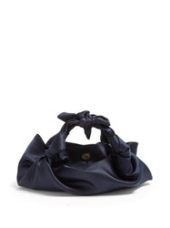 The Row The Ascot Satin Clutch Navy