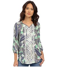 Christin Michaels Tours Print Blouse Blue Mint Women's Blouse