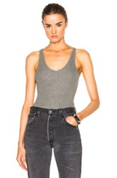 Atm Anthony Thomas Melillo V Neck Tank Bodysuit In Gray