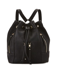Neiman Marcus Faux Leather Drawstring Backpack Black
