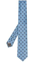 Canali Patterned Tie Blue