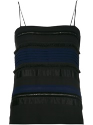 Yigal Azrouel Striped Fringed Spaghetti Strap Top Black