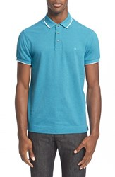 Men's Z Zegna Broken Stripe Tipped Polo Teal