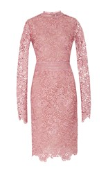 Costarellos Embroidered Cut Lace Wiggle Dress Pink