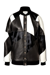 Fausto Puglisi Leather Patchwork Bomber Jacket