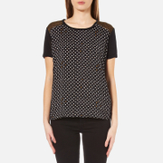 Maison Scotch Women's Relaxed Fit Linen Short Sleeve T Shirt Black