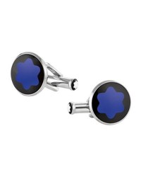Montblanc Mineral Glass Inlay Round Cuff Links Blue