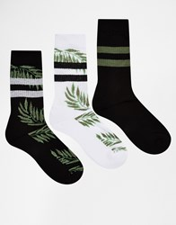 Asos Tube Style Socks 3 Pack With Tropical Leaf Design Black