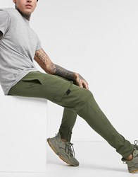 New Look Utility Jersey Jogger In Dark Khaki Green