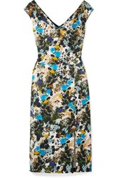 Erdem Jyoti Floral Print Cotton Blend Jacquard Midi Dress Blue