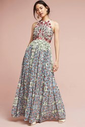 Anthropologie Adelise Beaded Halter Dress Blue