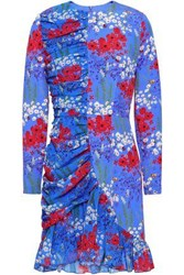 Mother Of Pearl Peggy Floral Print Stretch Silk Mini Dress Azure