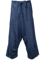 Forme D'expression Dropped Crotch Track Pants Blue
