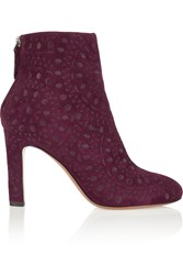 Alaia Embroidered Suede Ankle Boots