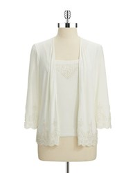 Cachet Two Piece Beaded Cardigan And Shell Set Ivory