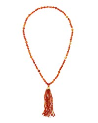 Kenneth Jay Lane Long Tortoise Hued Beaded Tassel Necklace Orange Brown