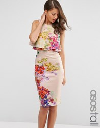 Asos Tall Midi Pencil Dress With Double Ruffle In Floral Print Multi