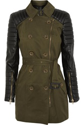 W118 By Walter Baker Keanu Quilted Faux Leather And Cotton Twill Trench Coat Green