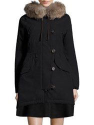 Moncler Aredhel Removable Fox Fur Nylon Jacket Black