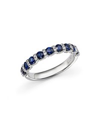 Bloomingdale's Sapphire And Diamond Band Ring In 14K White Gold White Blue