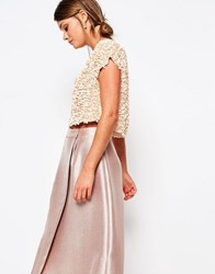 Coast Capped Sleeve Sequin Top Blush Pink