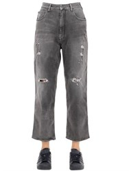 Cycle Distressed Cotton Denim Boyfriend Jeans
