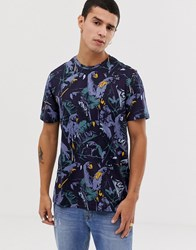 Ted Baker T Shirt With Parrot Print In Navy