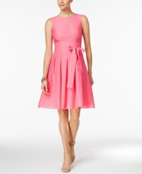 Tommy Hilfiger Illusion Striped Fit And Flare Dress Peony