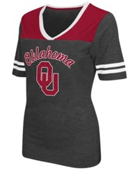 Colosseum Women's Oklahoma Sooners Twist V Neck T Shirt Charcoal Cardinal Red