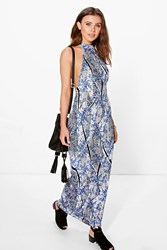 Boohoo Sade High Neck Low Armhole Maxi Dress Multi