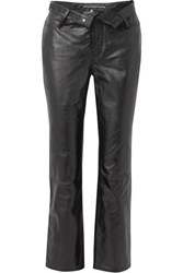 Alexander Wang Cult Flip Fold Over Embroidered Leather Straight Leg Pants Black