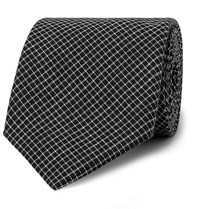 Oliver Spencer 8Cm Kersley Micro Checked Cotton And Linen Blend Tie Black