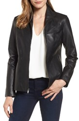Cole Haan Women's Lambskin Leather Scuba Jacket Black