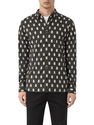 Allsaints Atlus Feather Print Slim Fit Shirt Washed Black
