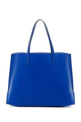 Karen Millen Unlined Contrast Pouch Leather Tote Blue