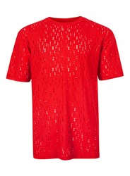 Topman Red Ripped Oversized T Shirt