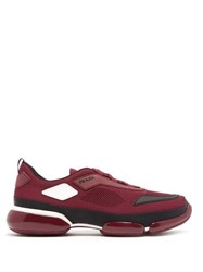 Prada Cloudbust Knitted Low Top Trainers Burgundy