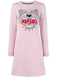Kenzo Tiger Embroidered Dress Pink And Purple