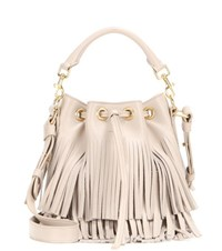 Saint Laurent Small Bucket Fringed Leather Tote Beige