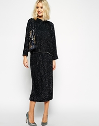 Asos Black Sequin Embellished Midi Skirt