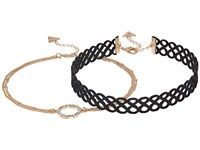 Guess Figure 8 Choker And Pave Circle Necklace Set Gold Crystal Jet Necklace
