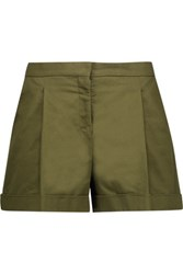 Valentino Pleated Cotton Twill Shorts Army Green