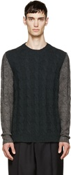 Maison Martin Margiela Green And Grey Cableknit Sweater