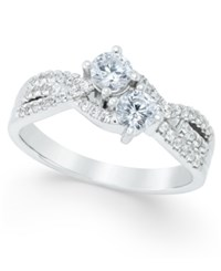Macy's Diamond Two Stone Engagement Ring 3 4 Ct. T.W. In 14K White Gold